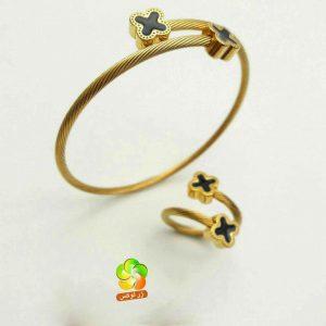 ست دستبند و انگشتر سیمی طرح گل