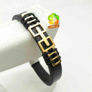 دستبند اسپرت چرمی مردانه با طرح استیل