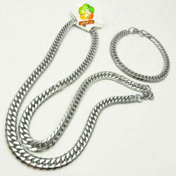 گردنبند و دستبند استیل نقره ای مردانه