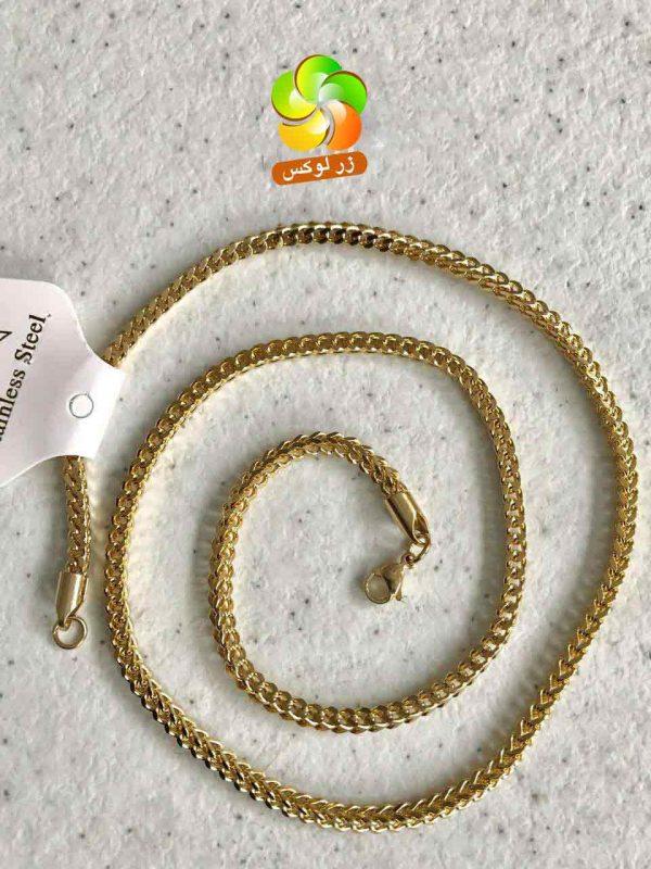 گردنبند مردانه خاص استیل طلایی