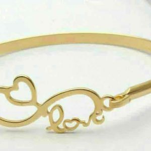 دستبند النگویی طلایی بی نهایت طرح قلب و لاو