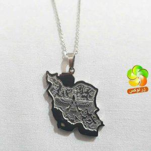 گردنبند نقشه ایران با نماد فروهر برجسته استیل نقره ای