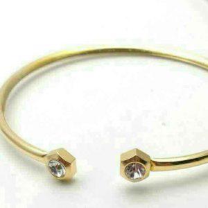 دستبند النگویی نگین دار دخترانه استیل طلایی