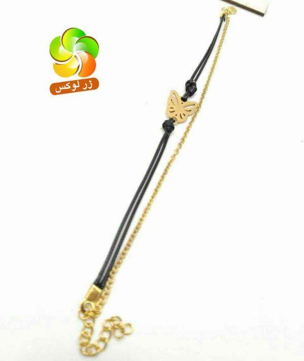 دستبند دخترانه نخی و زنجیری استیل طلایی