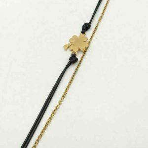 دستبند نخی و زنجیری زنانه استیل طلایی