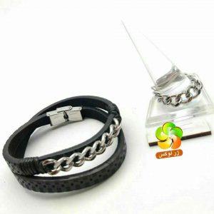 دستبند و انگشتر مردانه مارک کارتیر چرمی و استیل