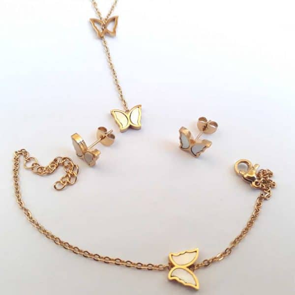 سرویس بدلیجات استیل طلایی گردنبند دستبند گوشواره