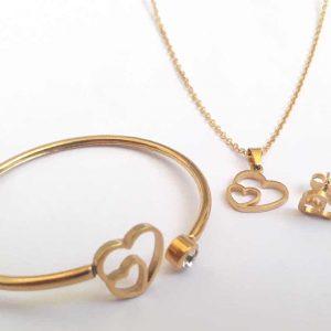 نیم ست با دستبند النگویی دخترانه استیل طلایی با کیفیت