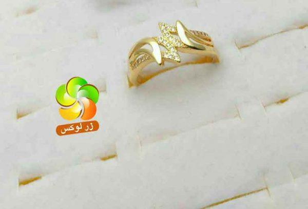 انگشتر طرح جواهر زنانه طلایی نگین دار