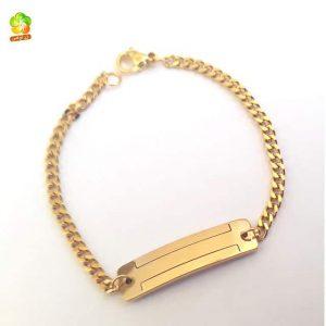 خرید دستبند بچه گانه استیل طلایی رنگ ثابت