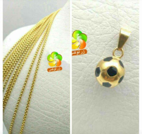 گردنبند توپ فوتبال استیل طلایی