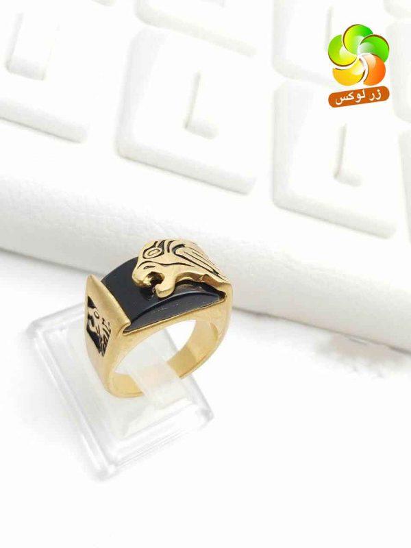 انگشتر مردانه اسپرت طرح پلنگ استیل طلایی