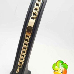 دستبند پلاک دار مردانه استیل طلایی رنگ ثابت