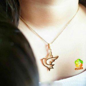 گردنبند پرنده استیل طلایی