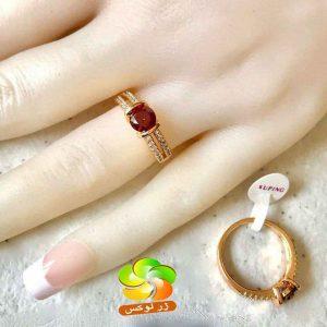 انگشتر ژوپینگ نگین قرمز رنگ ثابت و ضد حساسیت مخصوص بانوان مشکل پسند می باشد.چون این انگشترزیبا از مارک عالی ژوپینگ می باشد که شباهت زیادی به طلا دارد.